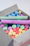 Colored chalks. In a box Royalty Free Stock Photos