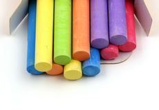 Colored chalks. Over a white background Stock Photography