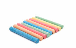Colored chalks isolated Royalty Free Stock Images