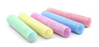 Colored chalks isolated. On white background stock photo