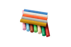 Colored chalks on white. Colored chalk for drawing writing skills of children Stock Photo
