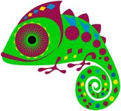 Colored chameleon with geometric ornament, vector, EPS. Colored friendly smiling green and purple chameleon with geometric ornament and swirling tail, vector Stock Photography