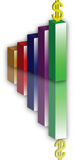 Colored Chart. An image of coloured columns of statistical diagram on a white background Royalty Free Stock Image