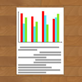 Colored chart info. Economy chart statistic on paper sheet, vector illustration Stock Image