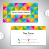 Colored checkered business card. Royalty Free Stock Photo