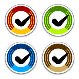 Colored checkmark stickers Stock Image