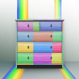 A colored chest. Against the background of the rainbow Stock Photo