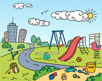 Colored Children Playground Bright Concept vector illustration