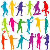 Colored children playing silhouettes set Royalty Free Stock Photos