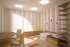 Colored children room. Bright colored children interior with frames on a wall Royalty Free Stock Images