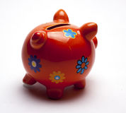 Colored children`s piggy Bank on white background. /pig piggy Bank for kids/  objects, ceramics, children Stock Images