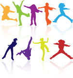 Active school children colored silhouettes set silhouette dance kids splaying jumping dancing party sports vector childrens happy royalty free illustration