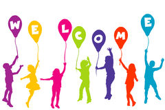 Colored children silhouettes holding balloons with letters build Stock Photography