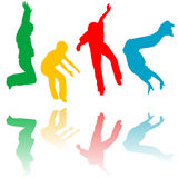 Colored children silhouettes jumping Royalty Free Stock Photo