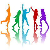 Colored children silhouettes playing Royalty Free Stock Photos