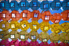 Colored chinese lanterns. In South Korea Stock Photo
