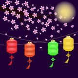 Colored Chinese lanterns hanging, night background, moon, flowers flying from a tree branch vector illustration