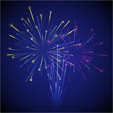 Colored chinese new year fireworks illustration. Vector colored chinese new year three fireworks on dark sky illustration Royalty Free Stock Photo