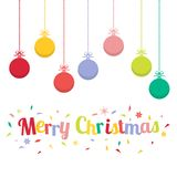 Colored christmas balls. Christmas ornaments hanging rope. Royalty Free Stock Photo
