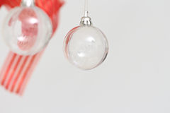 Colored Christmas balls hanging Stock Photo