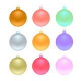 Colored Christmas balls set vector. 9 colored Christmas balls set vector Royalty Free Stock Photos