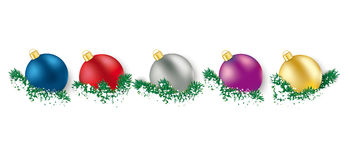 5 Colored Christmas Baubles  Green Twigs Royalty Free Stock Photography