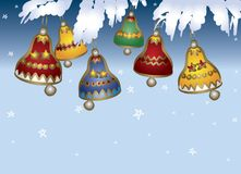 Colored Christmas bells Stock Images