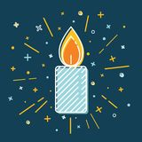 Colored Christmas candle icon in thin line style. Royalty Free Stock Photography