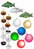 Colored Christmas carp, a traditional Czech fish. Collection of Christmas images. Christmas carp, ornaments on tree, candles Royalty Free Stock Photo
