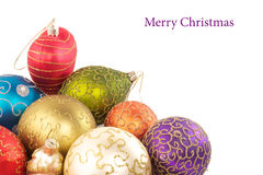 Colored Christmas decorations. On a white background with sample text Stock Photo