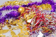 Colored Christmas decorations to celebrate the new year. On the table Stock Photo