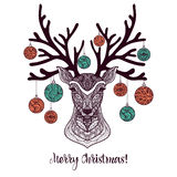 Colored Christmas Deer Stock Photography