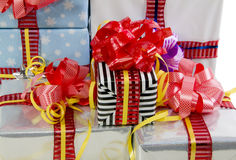 Colored Christmas gifts boxes texture Royalty Free Stock Photography