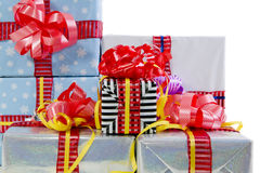 Colored Christmas gifts boxes texture Royalty Free Stock Image