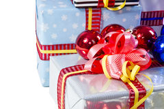 Colored Christmas gifts boxes texture Stock Images