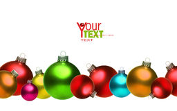 Colored christmas glass balls isolated on white Stock Image