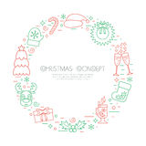 Colored Christmas holidays circle frame with traditional attributes in line style. Vector Royalty Free Stock Photos