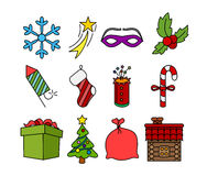 Colored christmas icons Stock Images