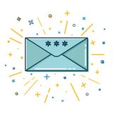 Colored Christmas mail icon in thin line style Stock Photos
