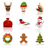 Colored Christmas and New Year icons. Vector illustration. Stock Photography