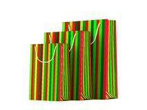 Colored christmas paper bags isolated on white background Royalty Free Stock Image