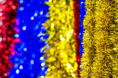 Colored Christmas tinsel Stock Photo