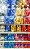 Colored Christmas toys in store.  decorations. Stock Image