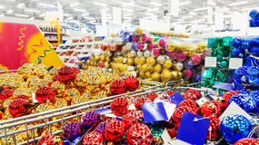 Colored Christmas toys in store.  decorations. Stock Photo