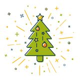 Colored Christmas tree icon in thin line style Stock Images