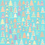 Colored Christmas trees. Winter background in pastel colors with a pattern in form of small trees Stock Images