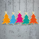 5 Colored Christmas Trees Price Stickers Concrete. Sale sticker with golden lines on the beton Royalty Free Stock Photo