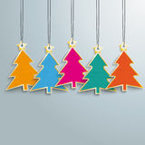 5 Colored Christmas Trees Price Stickers Royalty Free Stock Images
