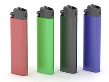 Colored cigarette lighters Royalty Free Stock Images