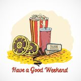 Colored cinema weekend concept Stock Image